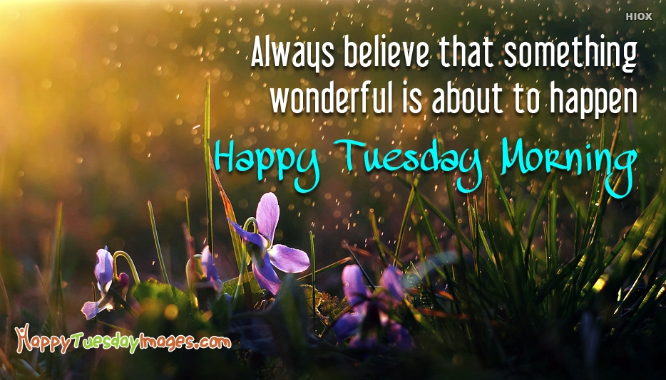 Always Believe That Something Wonderful is About to Happen. Happy Tuesday Morning - Happy Tuesday Morning Images