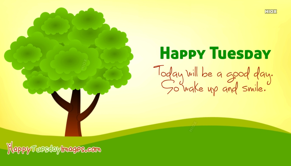 Happy Tuesday Cards | Today Will Be A Good Day. So Wake Up and Smile